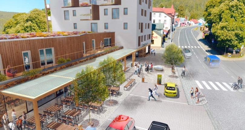 Vizualizace nového náměstí v Železné Rudě